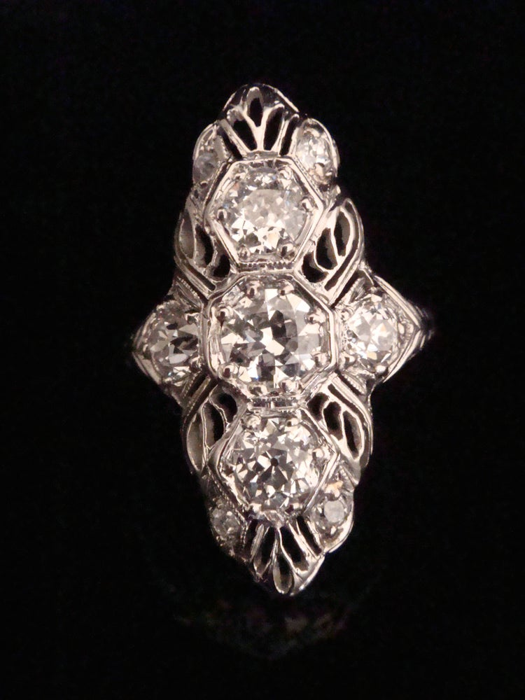 Image of Edwardian 18ct white gold transitional cut diamond marquis ring 2.00ct
