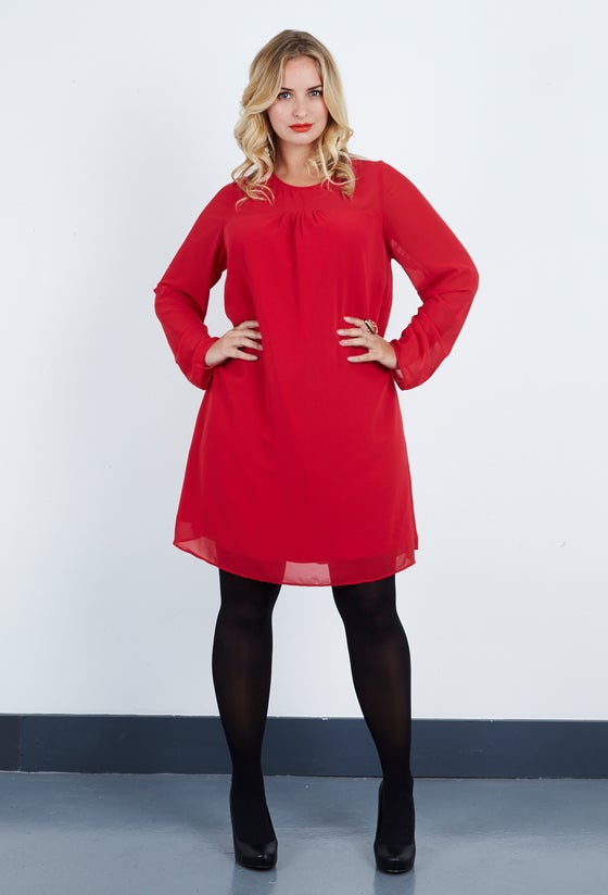 Image of Anna Scholz Georgette Red Tunic Dress