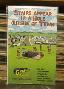 "Image of ""Stairs Appear in a Hole Outside of Town""--Comic Book--Paper Copy--Like Twilight Zone episodes."