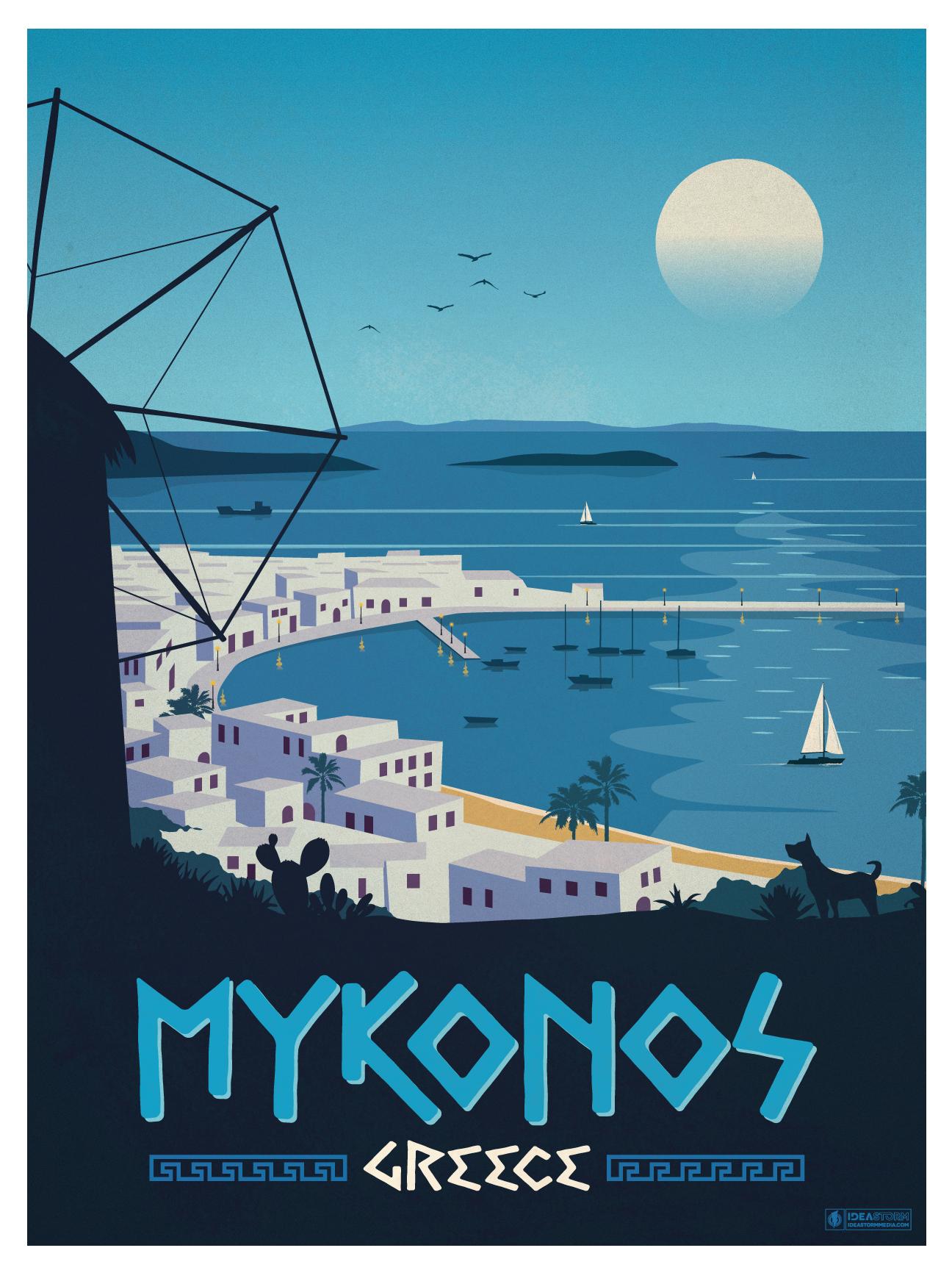 Ideastorm Studio Store Vintage Mykonos Poster