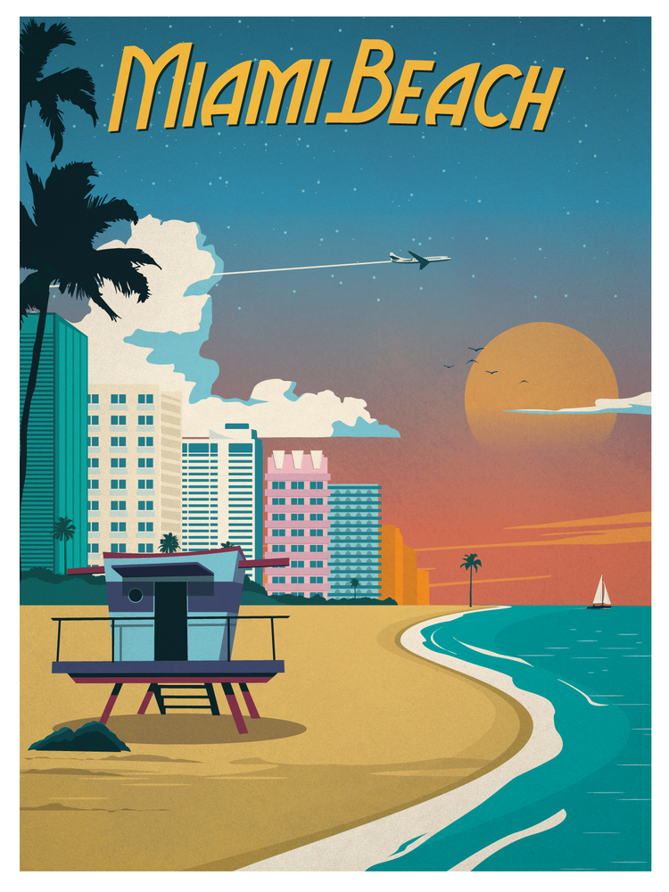 Image of Vintage Miami Beach Poster