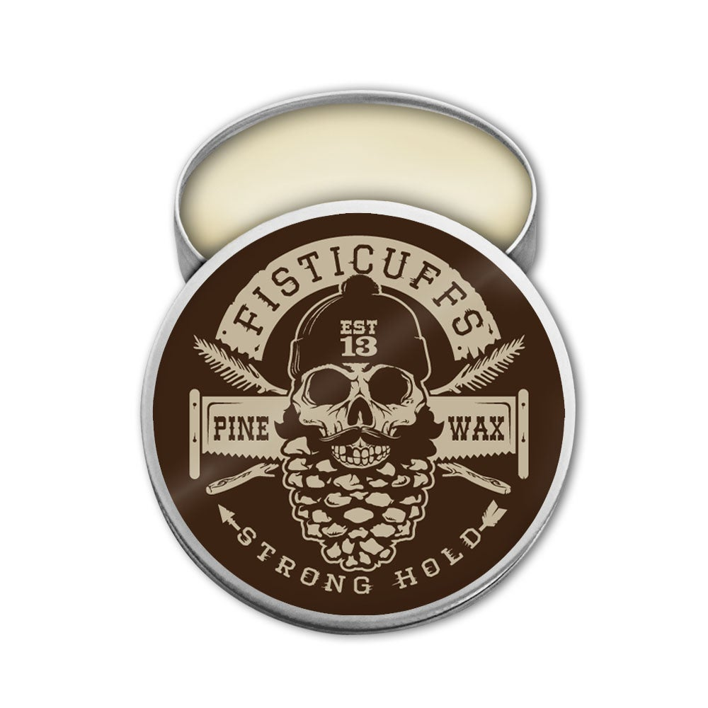 Image of Fisticuffs Pine scent Strong Hold Mustache Wax 1 OZ. Tin