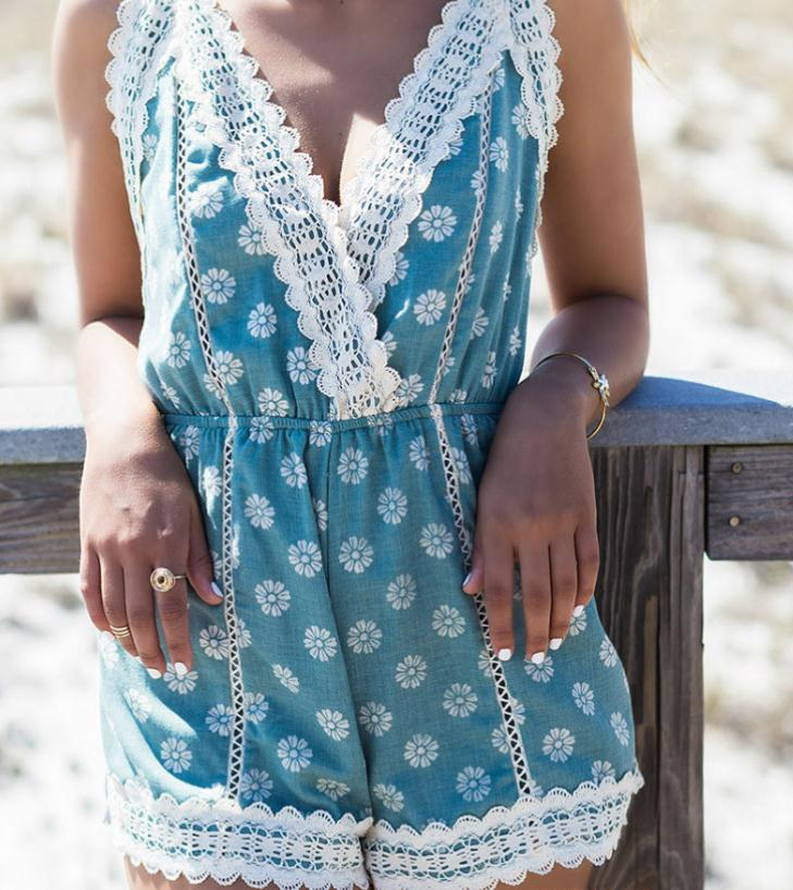 Image of Cute lace V design jumpsuit romper