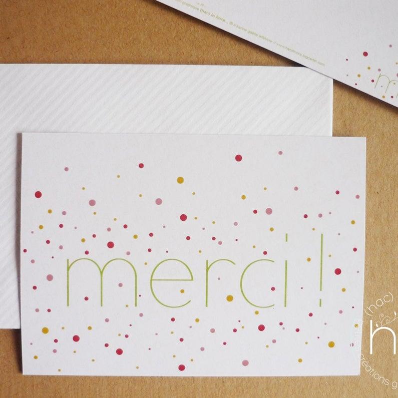 "Image of 2 cartes ∴confettis∴ ""merci!"""