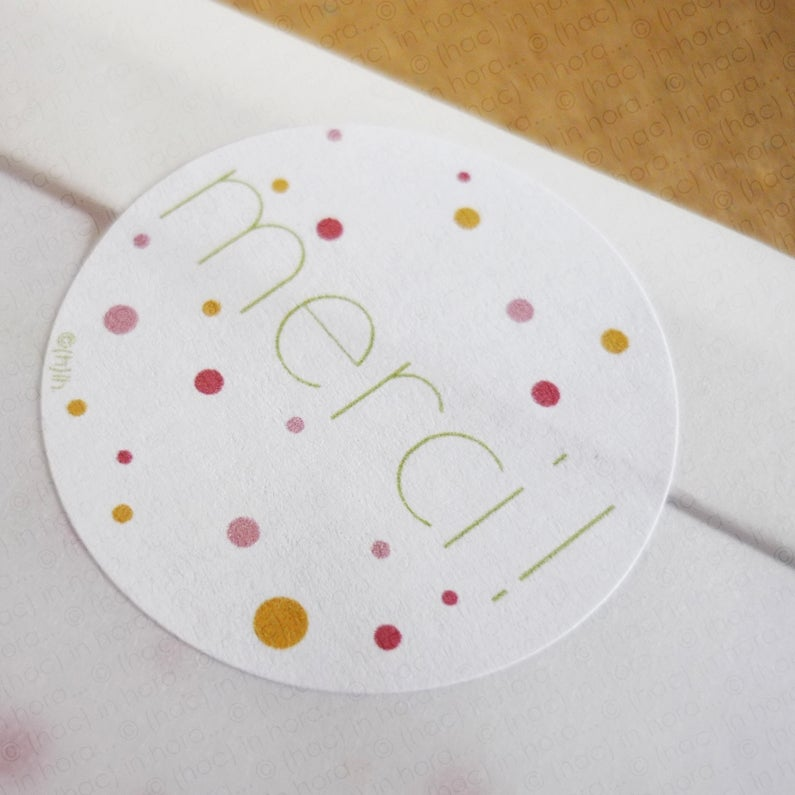 "Image of stickers ∴confettis∴ ""merci!"" Ø3,1cm"
