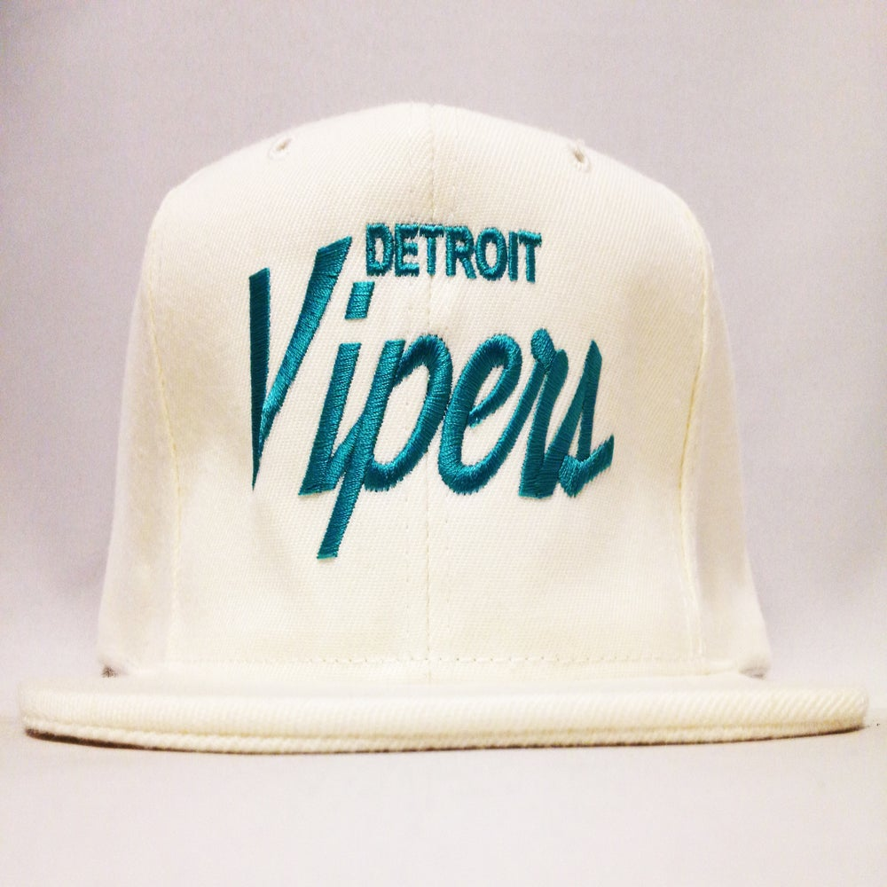 Image of Detroit Vipers White Wool Teal Script Snapback
