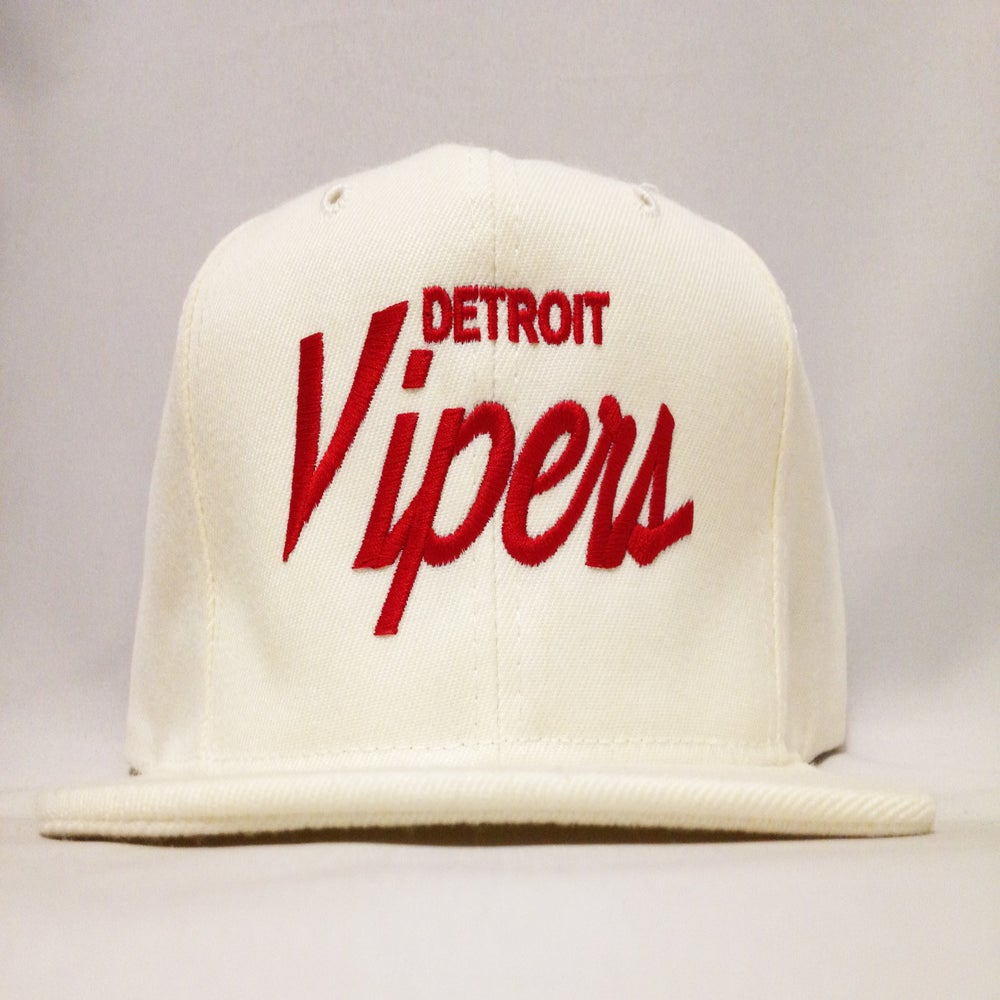 Image of Detroit Vipers White Wool Red Script Snapback