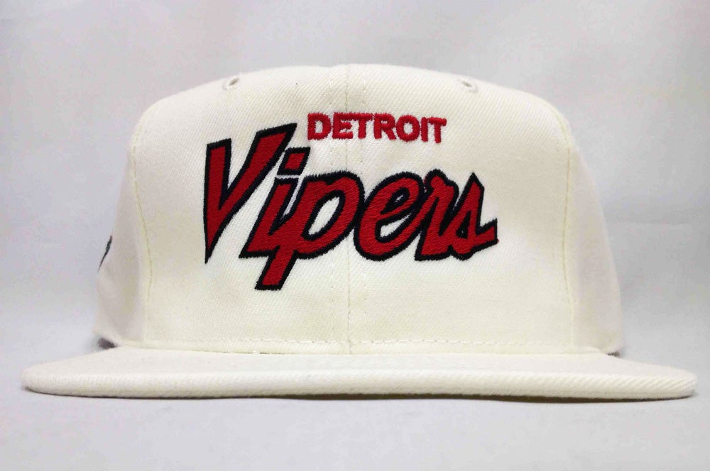 Image of Detroit Vipers White Wool Script Snapback