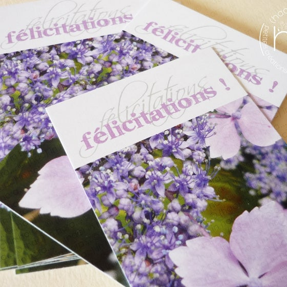 Image of petites cartes ✿flora✿ félicitations! hydrangea
