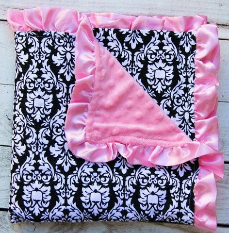 Image of Black Damask and Pink Minky Baby Blanket with Pink Satin Ruffles