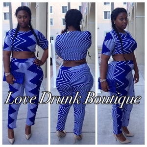 Image of Blue Abstract 2-piece Set