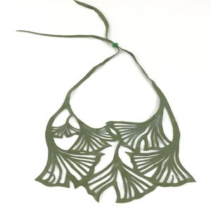 Image of Florence & Leah recycled leather necklace (small green ginkgo)
