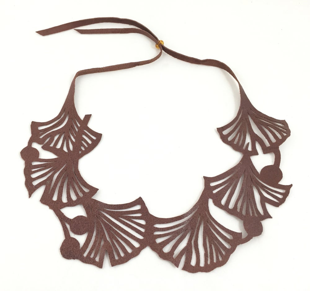 Image of Florence & Leah recycled leather necklace (brown ginkgo)