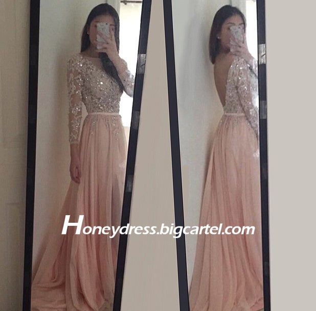 Image of Pink Lace appliques V Back Evening Dress With Crystals