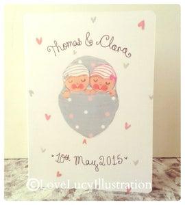 Image of Personalised Twin Baby Keepsake Card