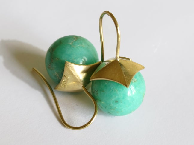 Image of Chrysoprase Pyramid Earrings