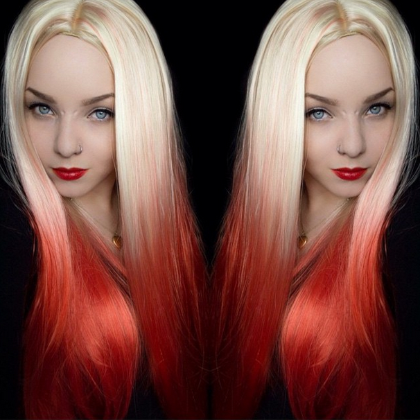 Image of Killer Blonde, Blonde Red Dip Dye Ombre Natural Cosplay Wig