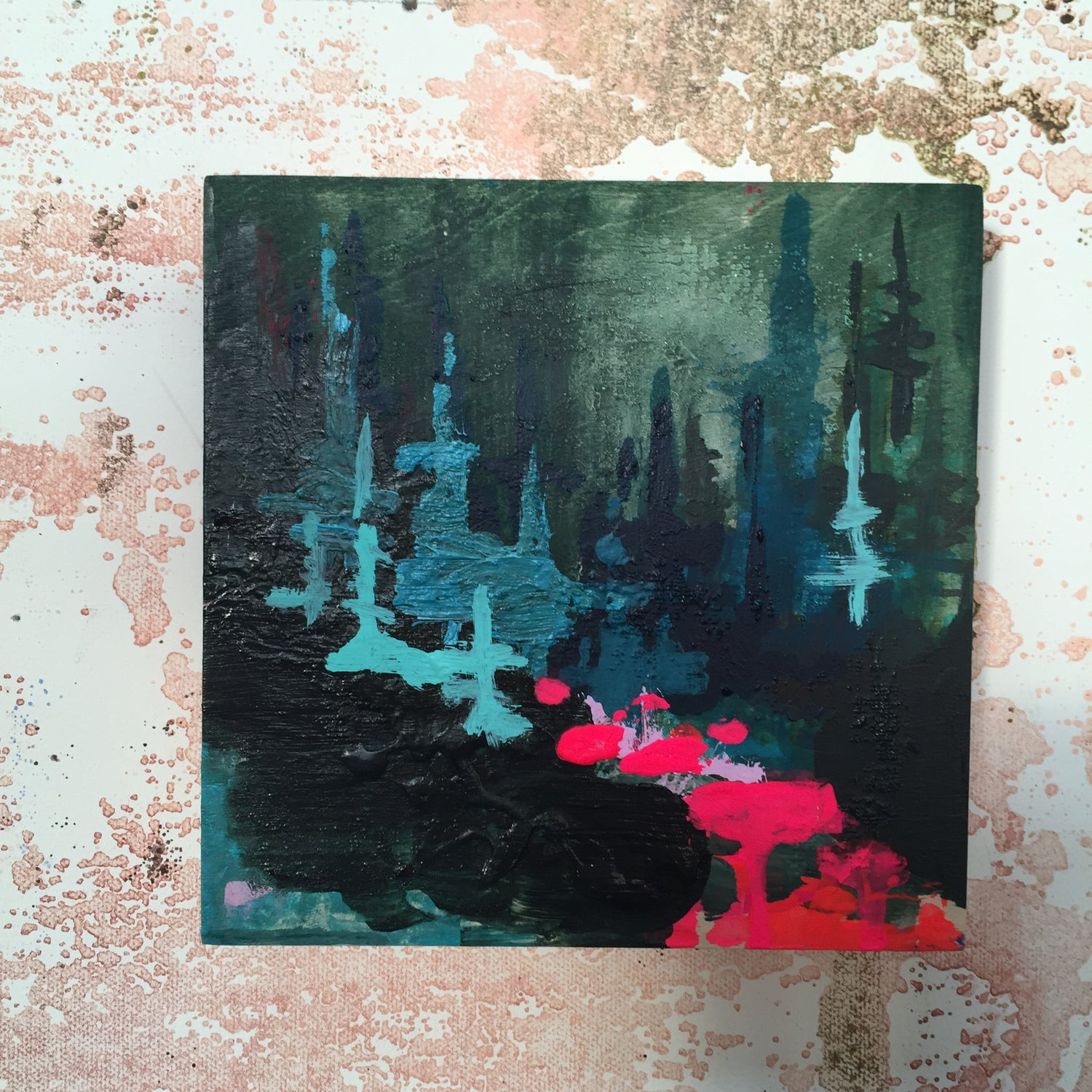 Image of Tiny Painting No. 12 (teal, violet, olive green)
