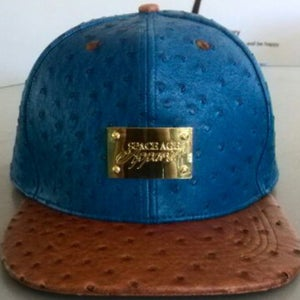 Image of Blue/Brown Ostrich Leather & Gold Edition