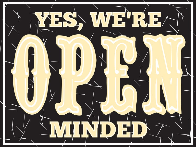 Image of Yes We're Open Minded™ Sign - Artist: Andrew Gallagher