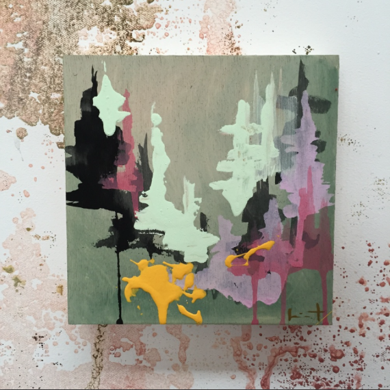 Image of Tiny Painting No. 6 (mint, yellow, charcoal)