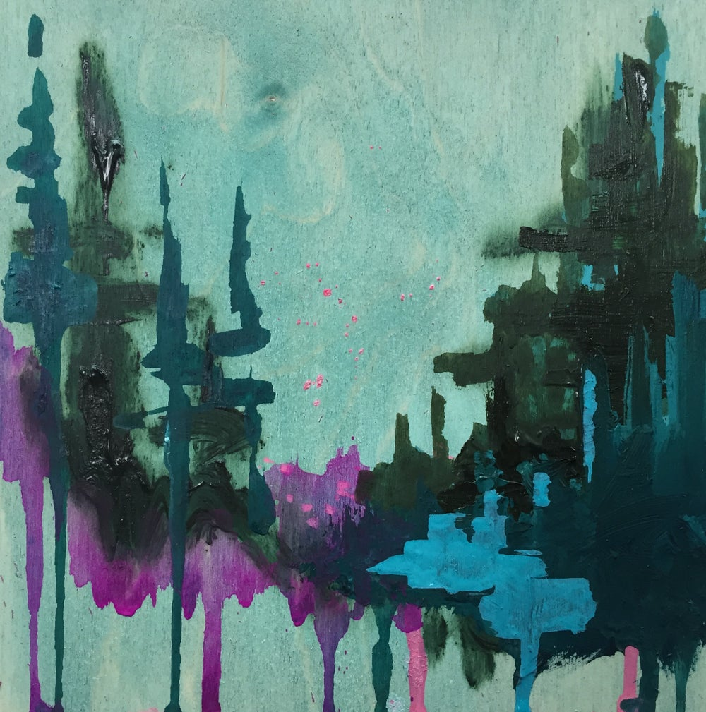 Image of Tiny Painting No. 13 (pool green, teal, violet)