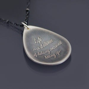 Image of Sterling Silver Balance Necklace - Inspirational Rumi Quote