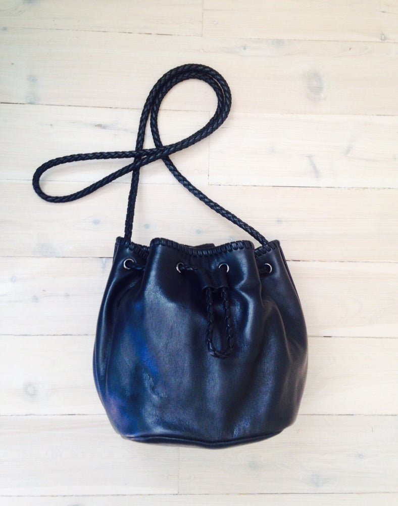 Image of Black Leather Bucket bag