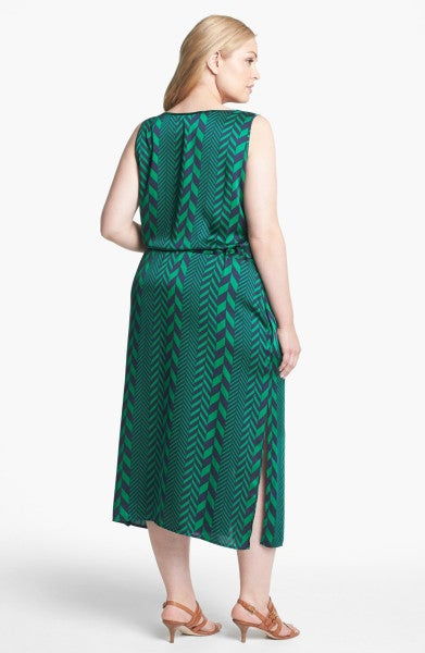 Image of Michael Kors League Stripe Midi Tank Dress