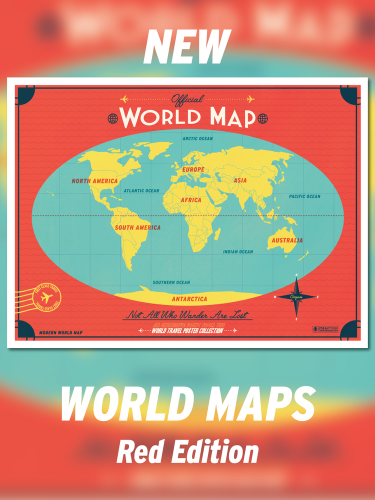Image of Modern World Map - Red