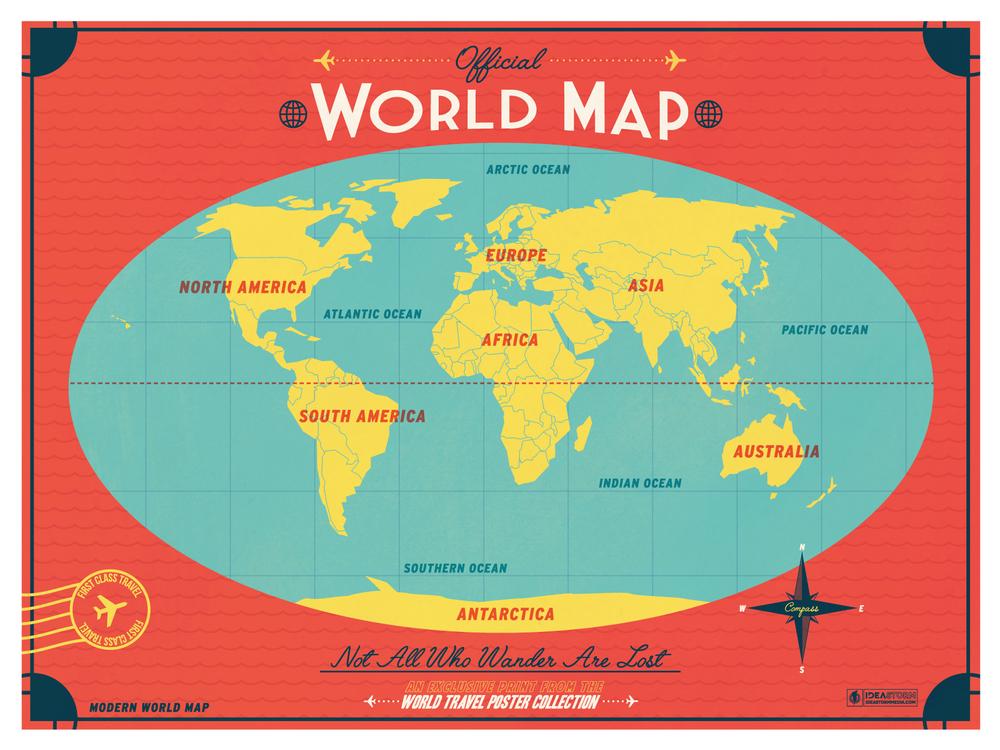 IdeaStorm Studio Store Modern World Map Red - Modern world map