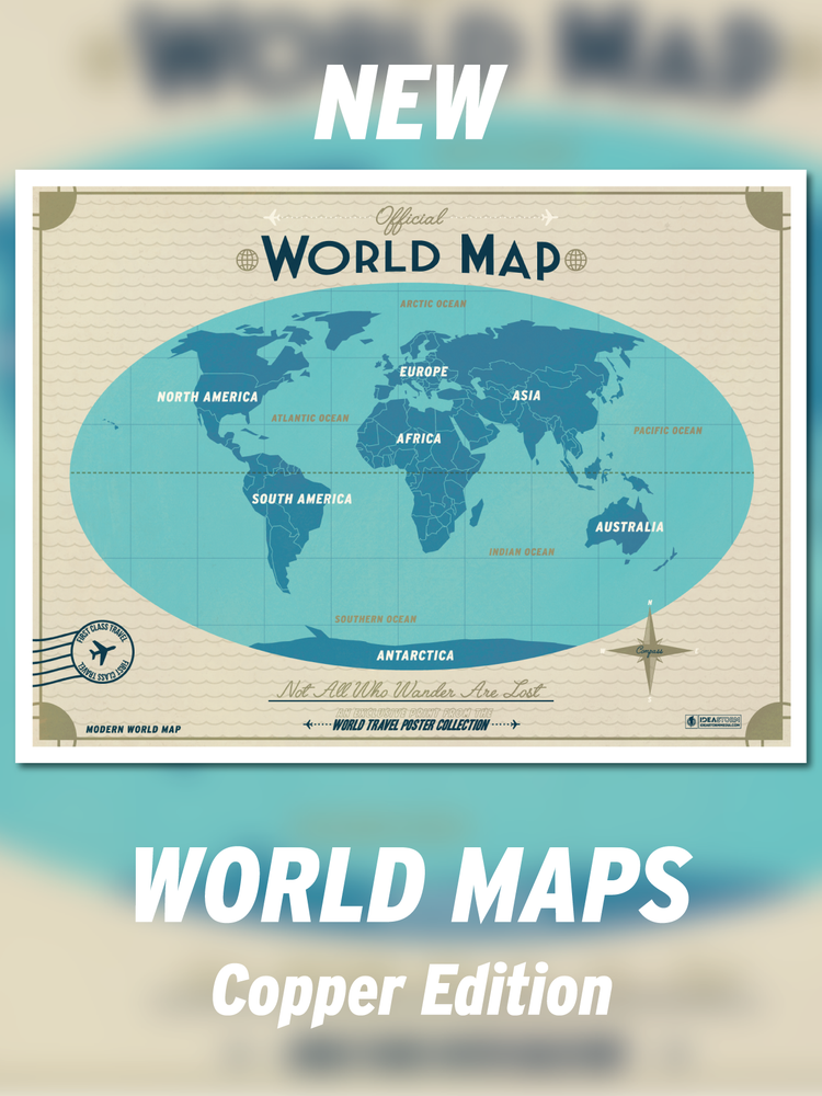 Image of Modern World Map - Copper