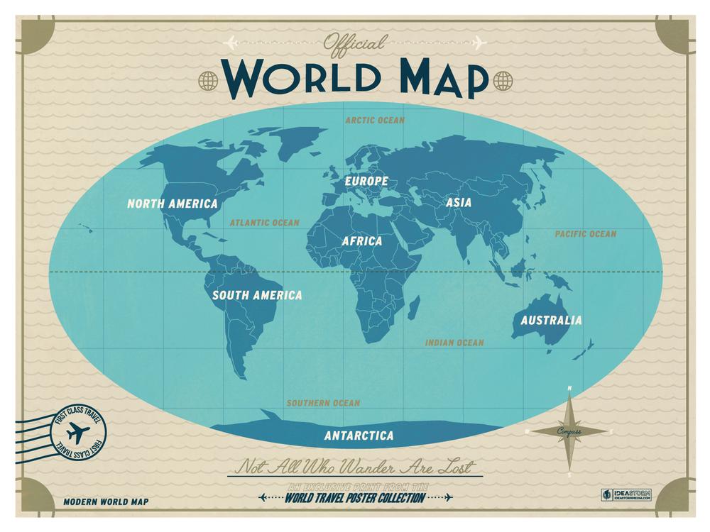 IdeaStorm Studio Store Modern World Map Copper - Modern world map