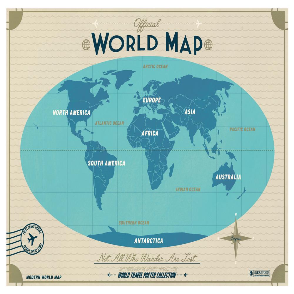 Modern World Map Copper IdeaStorm Media Store