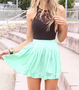 Image of Bud silk chiffon stitching dress Sleeveless party short skirt waist cultivate one's morality