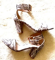 Image of Carvela Ankle Strap sandal in faux snake skin