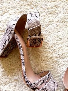 Image of Carvela Ankle Strap sandal in faux snake skin