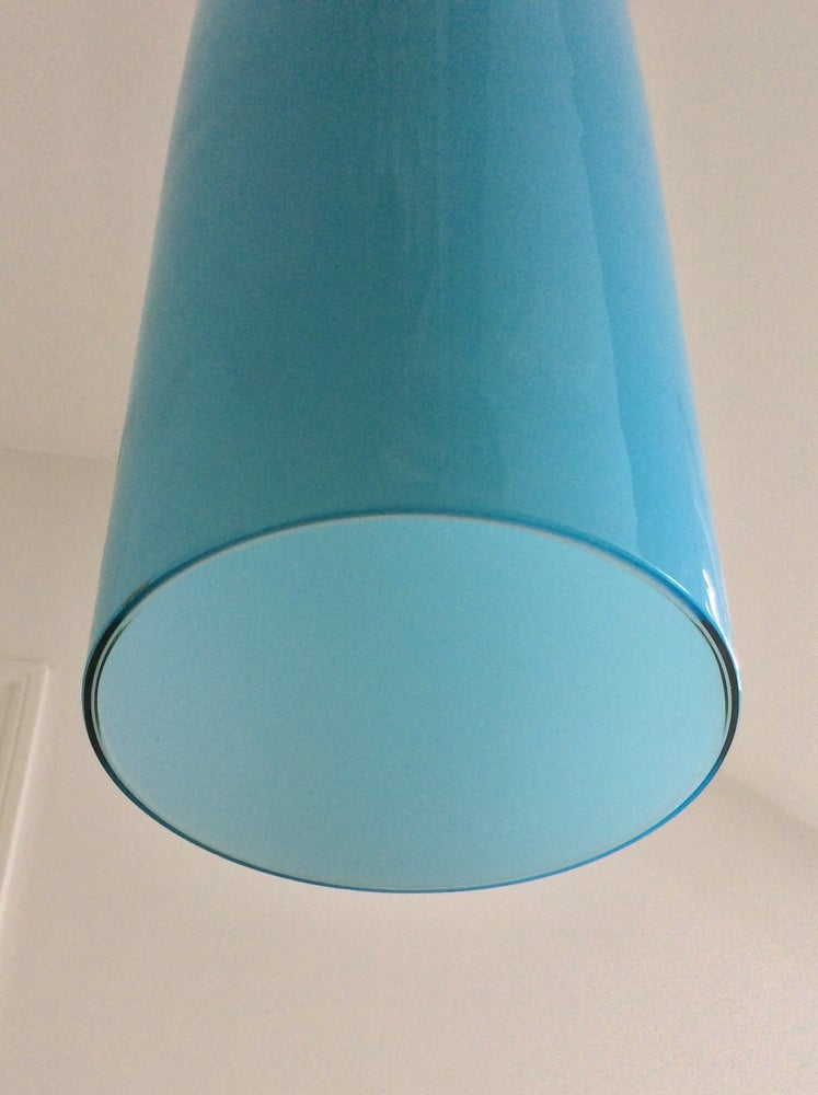 Image of Vistosi Pipe Pendant Lamp in Blue Glass, Italy 1960s