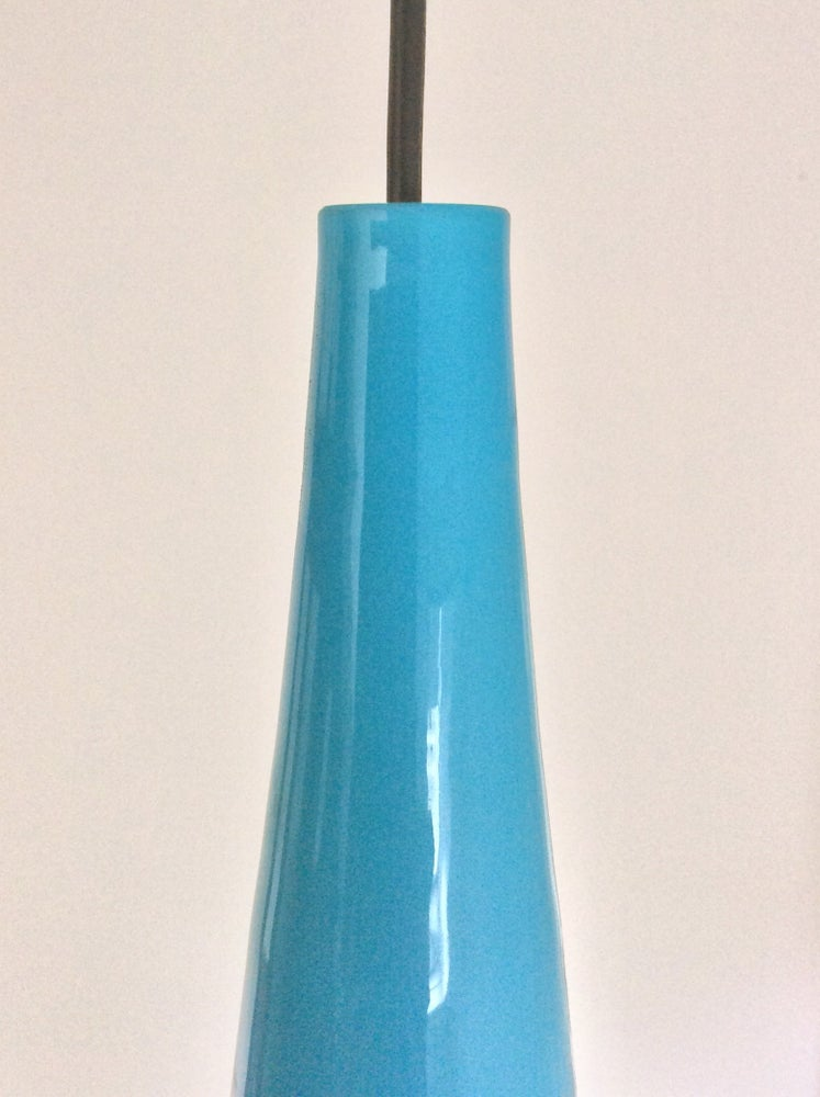 Image of Vistosi Pipe Pendant Lamp in Blue Glass, Italy 1960s