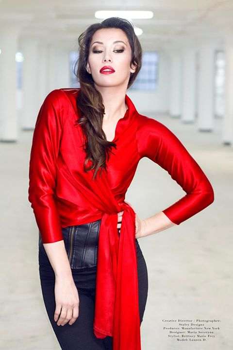 Image of Maria Severyna Silk Red Wrap Top
