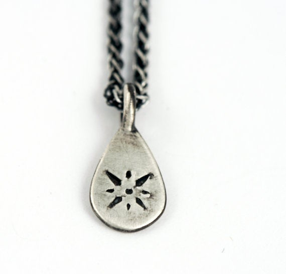 Image of Oxidized Sterling Boho Star Charm Necklace