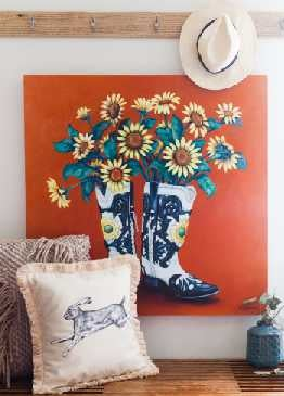 "Image of ""Sunflower Boots"" Canvas Gicleé"