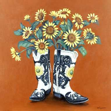 """Image of """"Sunflower Boots"""" Canvas Gicleé"""