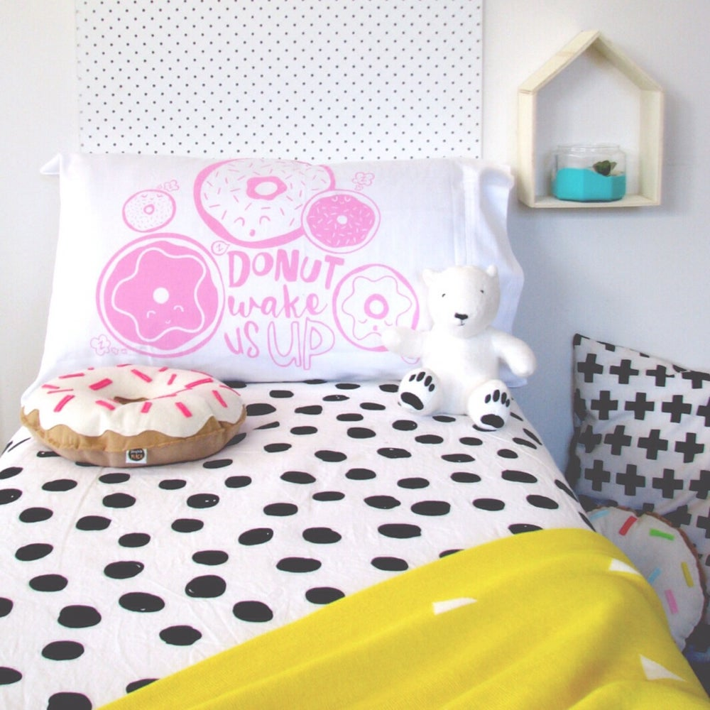 Image of 'DONUT WAKE US UP' PILLOWCASE - BUBBLEGUM PINK