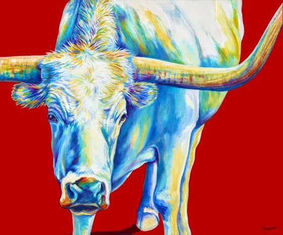 """Image of """"White Longhorn"""" Canvas Gicleé"""