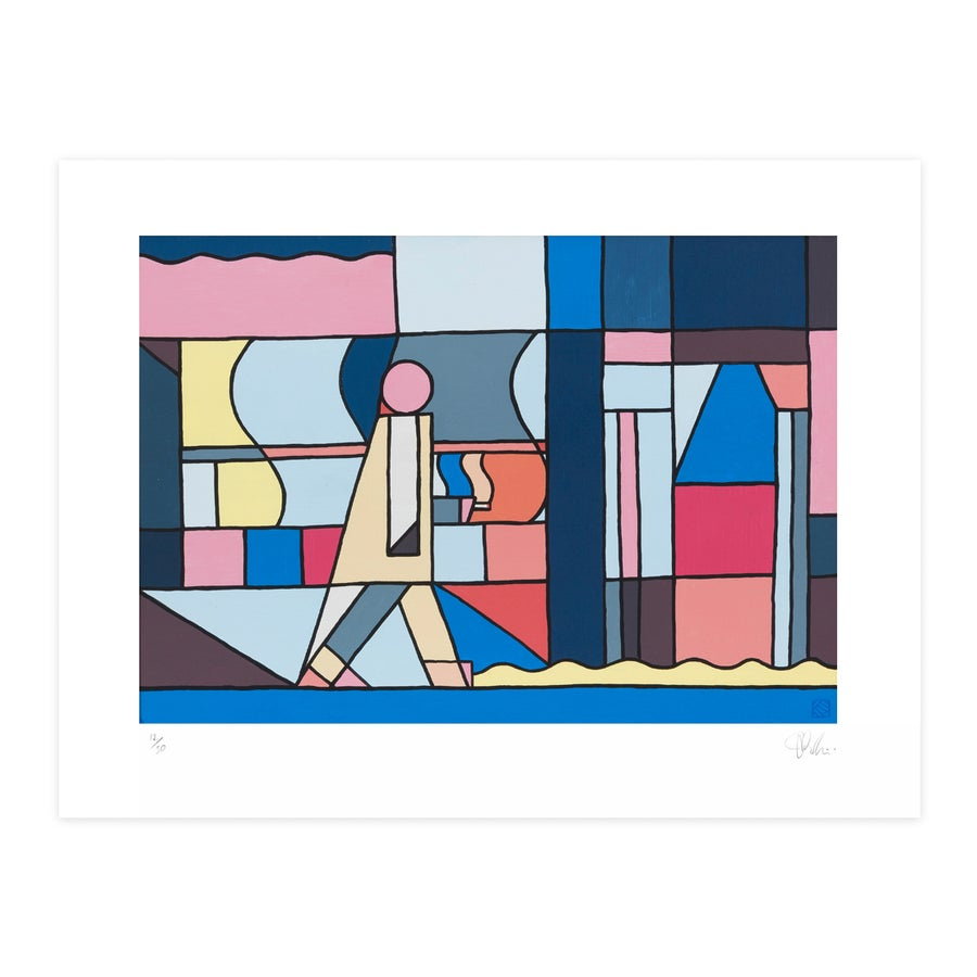 Image of 'Man Walking Past Record Shop' - Giclee art print