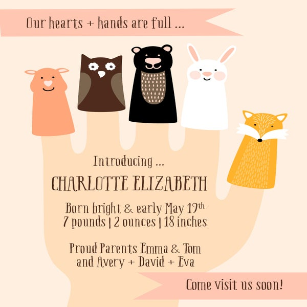 Image of Hand Puppet Baby Announcement