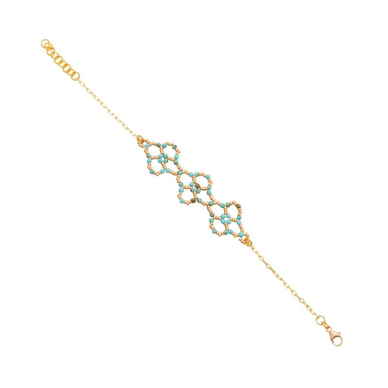 Image of Turquoise Clover Bracelet Gold