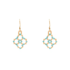 Image of Turquoise Clover Earrings Gold