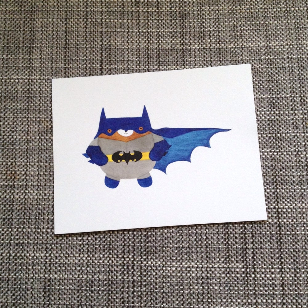 Image of pudgy superhero bear postcards + prints